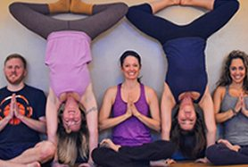 yoga poses by group fitness gym members in yoga studio